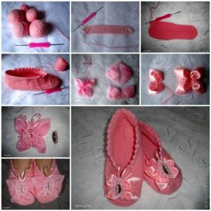 DIY Crochet Slippers with Ribbon Butterflies 3 300x300 Wonderful DIY Crochet Slippers With Butterflies
