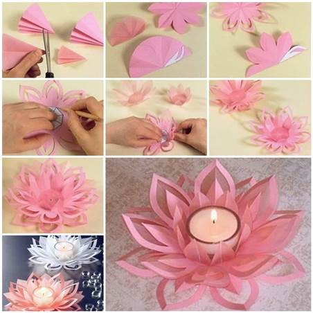 DIY Paper Lotus Candlestick 3 Wonderful DIY Beautiful  Lotus Candlestick