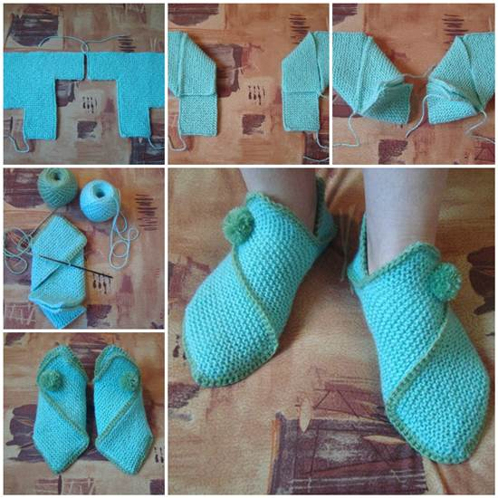 DIY-Pretty-Knitted-Home-Slippers