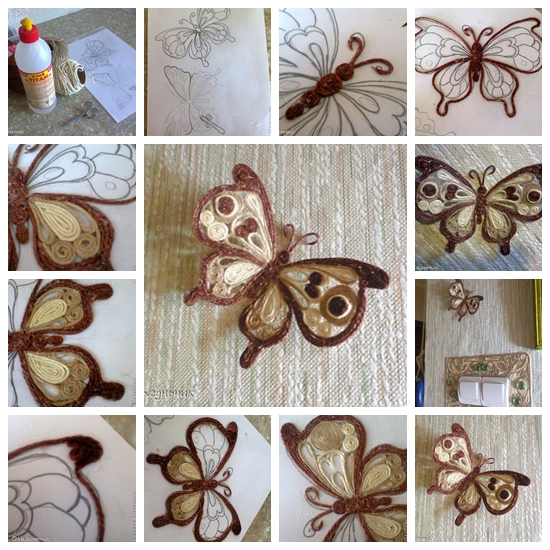 F3 Wonderful DIY Beautiful Yarn Filigree Butterfly