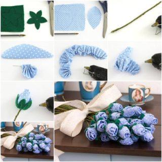 Wonderful DIY  Fabric Rose Bouquet