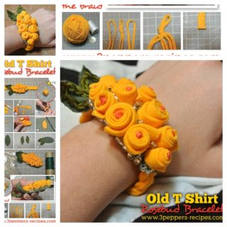 Wonderful DIY Rosebud Bracelet From Old T-shirt