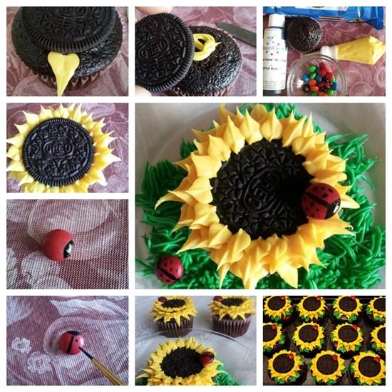 Oreo Sunflower Cupcakes F