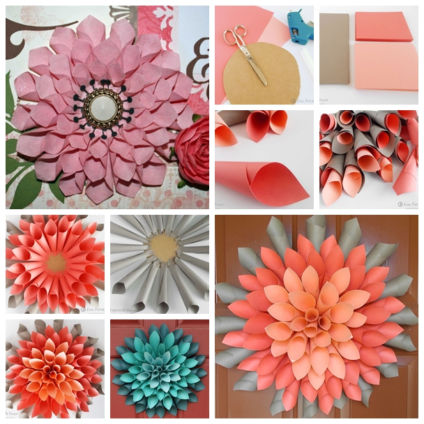 Wonderful diy paper dahlia wreath Home decor crafts with paper