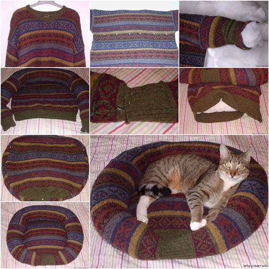 Pet Bed from Old Sweater Wonderful DIY Pet Bed From Old Shirt & Sweater