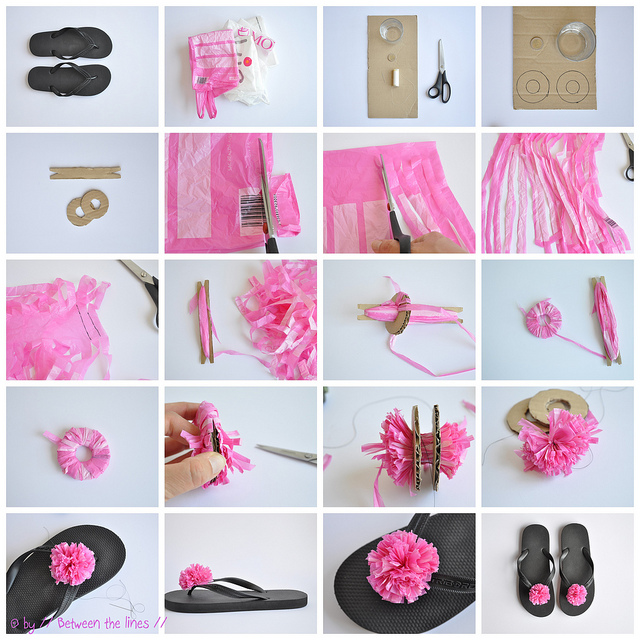 Recycled plastic bag pompom flip flops wonderfuldiy Wonderful DIY Recycled Plastic Bag Pompom Flip flops