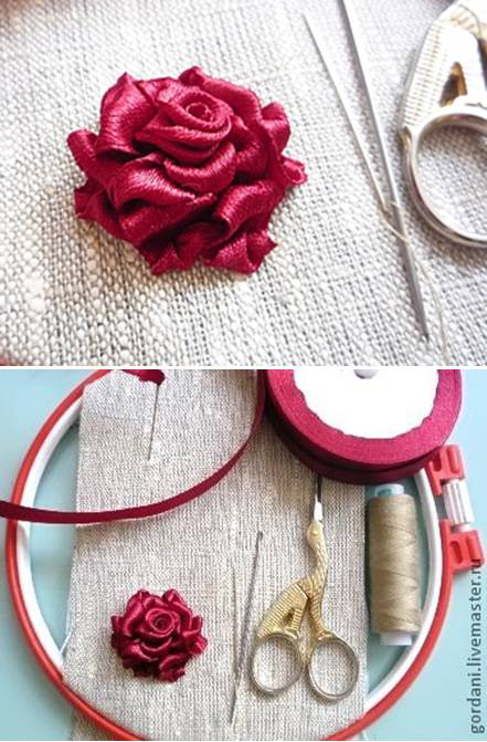 Ribbon Rose 00 00 DIY Ribbon Roses That Look Delicate and Pretty