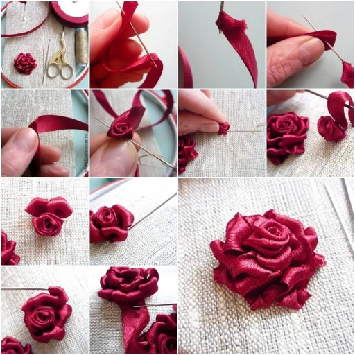 Ribbon Rose Featured DIY Ribbon Roses That Look Delicate and Pretty