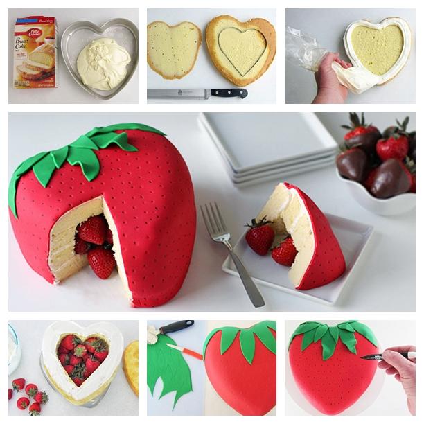 Strawberry Surprise Cake F Wonderful DIY  Cute Strawberry  Cake