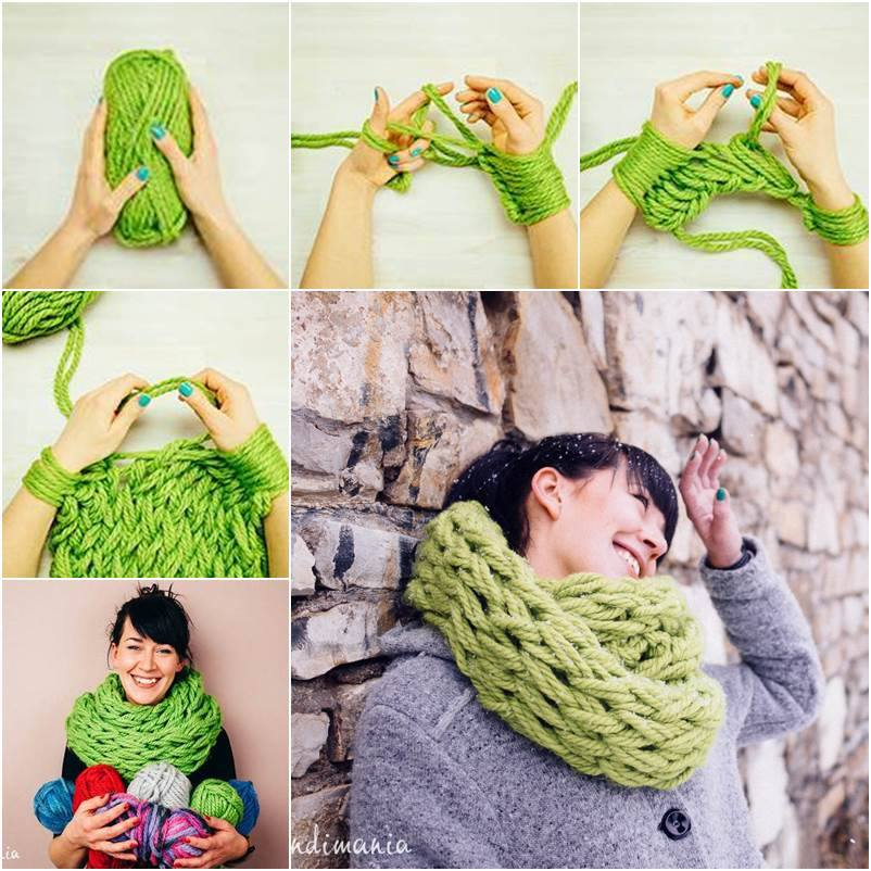arm knitted scarf DIY F2 Wonderful DIY Easy Arm Knitting  for Beginners