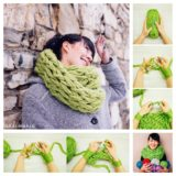 Wonderful DIY Arm-Knitted Scarf In 30 Minutes