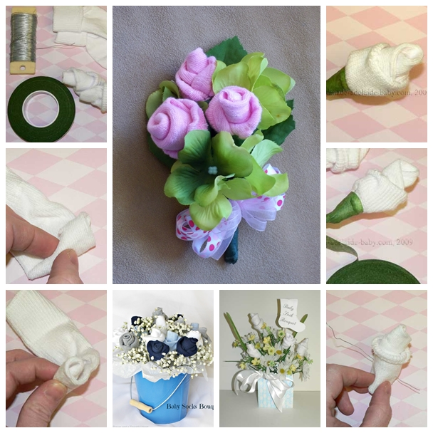 Wonderful diy baby sock rose bouquet view in gallery baby sock rose f beautiful baby sock rose bouquets to make for moms days negle Gallery