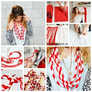 Wonderful DIY Candy Cane Scarf From Old T-shirt