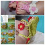 Wonderful DIY Crochet Flower Baby Sandals