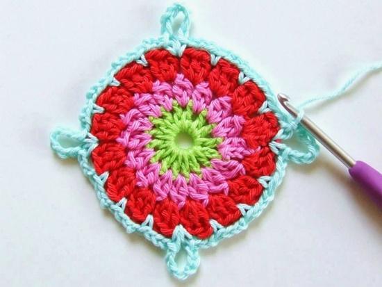crochet flower blanket6