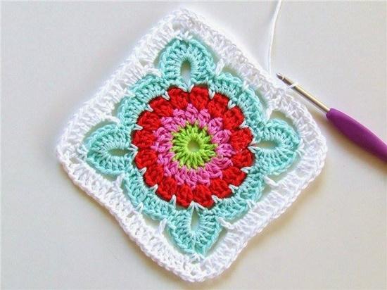 crochet flower blanket8