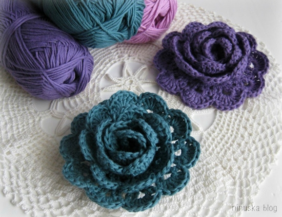 crochet lace rose flower 6