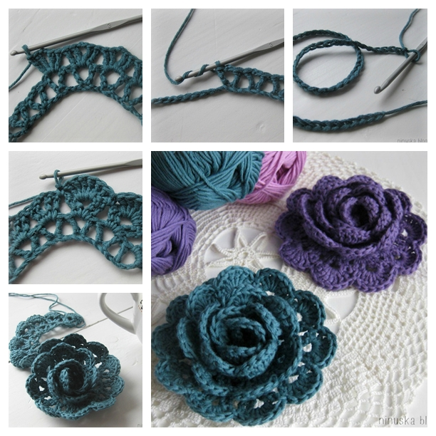 crochet lace rose flower F