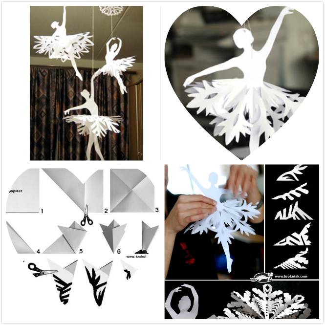 f2 Pretty DIY Paper Snowflake Ballerinas for Cute Little Girls