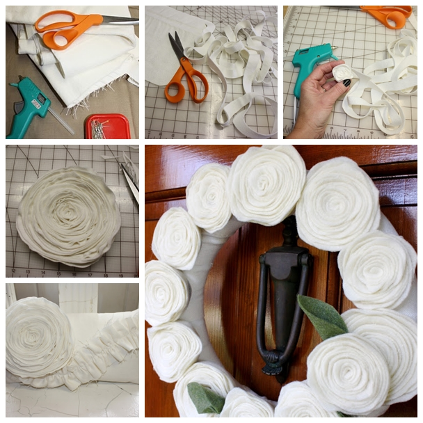 felt flower F Wonderful DIY Beautiful Felt Flower Pillow And Wreath