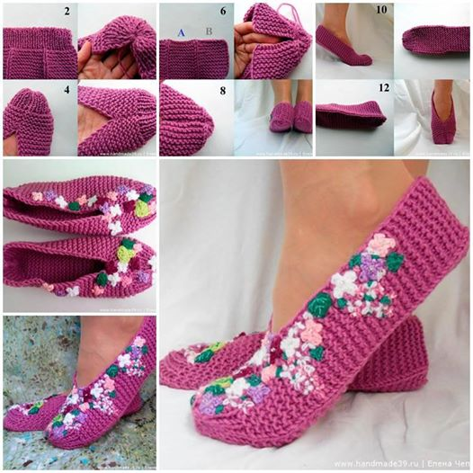 knitted lilac slippers diy Wonderful DIY Pretty  Knitted Lilac Slippers