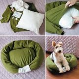 Wonderful DIY Pet Bed From Old Shirt & Sweater