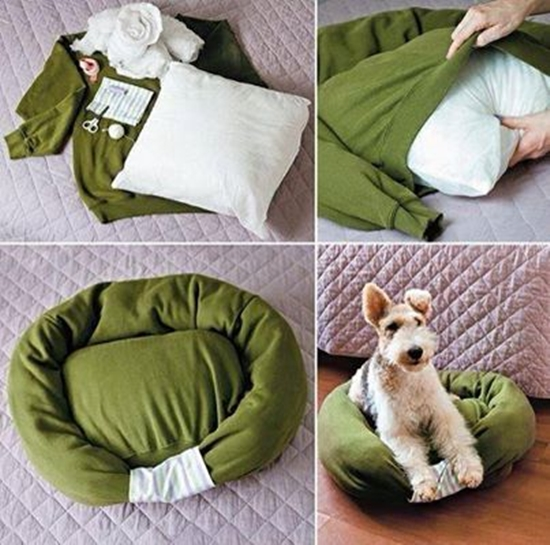 pet bed from old shirt Wonderful DIY Pet Bed From Old Shirt & Sweater