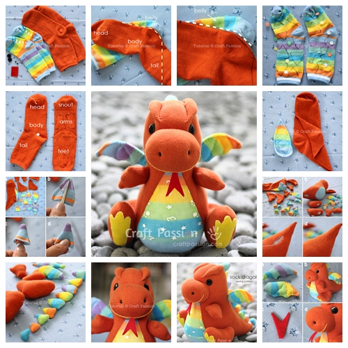 sew sock dragon F Wonderful DIY Sock Dragon
