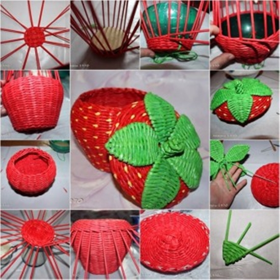 Wonderful DIY Strawberry Basket From Recycled Paper