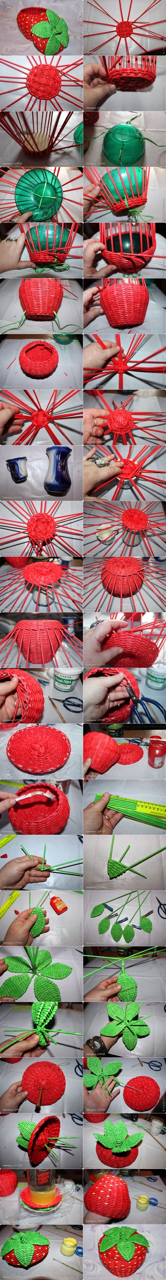 strawberry basket M Wonderful DIY Strawberry  Basket from Recycled Paper