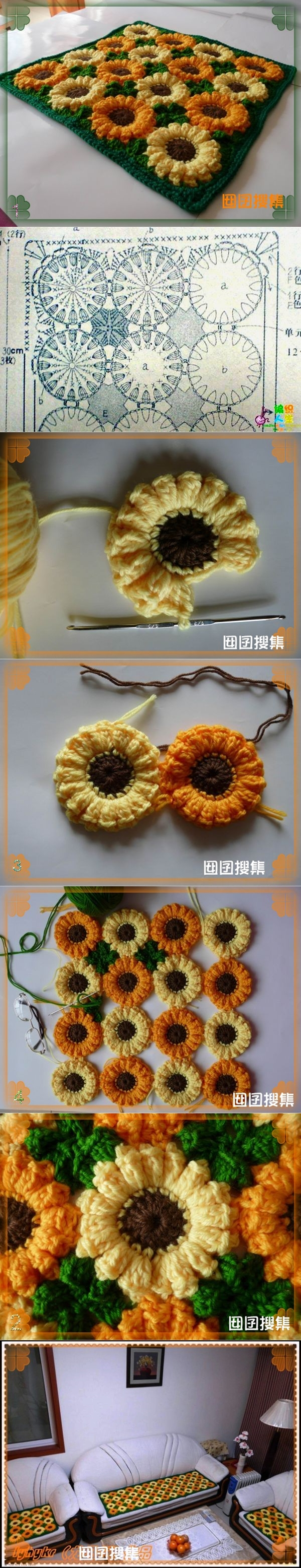 sunflower rug 1 Wonderful DIY Crochet Sunflower Rug