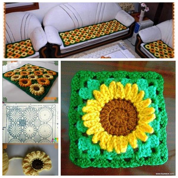 sunflower rug F Wonderful DIY Crochet Sunflower Rug
