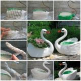 Wonderful DIY Swan Pot Planter Out Of Plastic Bottles