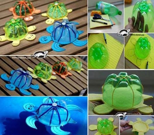 turn recycled plastic bottles into lovely turtle toys