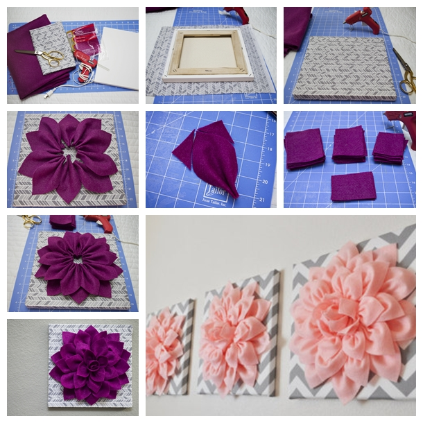 3D felt flower wall art F