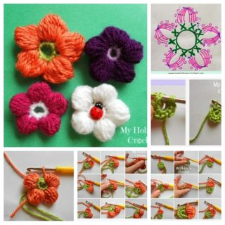 Wonderful DIY Crochet 5 Petals Cluster Flower