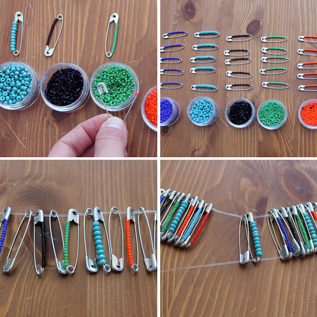 Beaded Safety Pin jewelry1 Wonderful DIY Beaded Safety Pin Jewelry