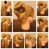 Wonderful DIY Bun with Cute Rose Bow Hairstyle
