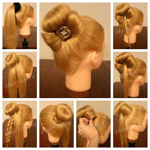 Braided rose Bow Hairstyle F Wonderful DIY Bun with Cute Rose Bow Hairstyle