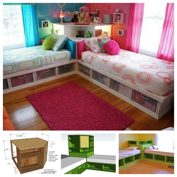 Space saving twin bed corner unit guide and tutorial for Narrow width bunk beds