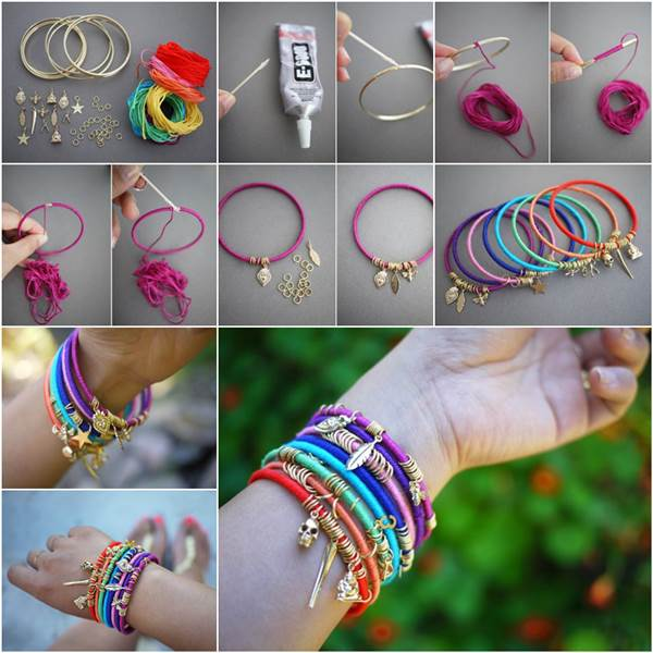 DIY Colorful Summer Wrap Bangles Wonderful DIY Summer Colorful Wrap Bangles