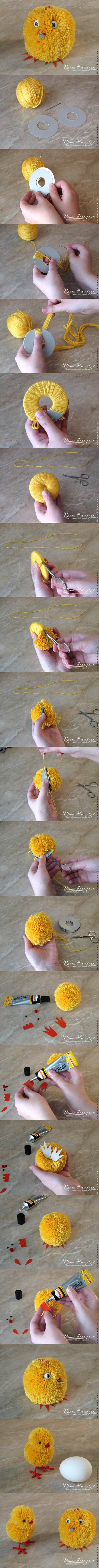 DIY Cute Pom Pom Easter Chicks 1  Wonderful DIY Cute Yarn Pom Pom Chicks