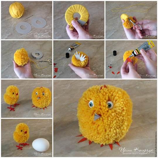 DIY Cute Pom Pom Easter Chicks 3  Wonderful DIY Cute Yarn Pom Pom Chicks