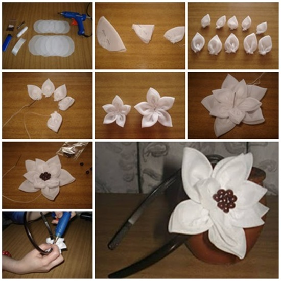 DIY Pretty Flower Headband i Wonderful DIY Pretty Ribbon Flower Headband