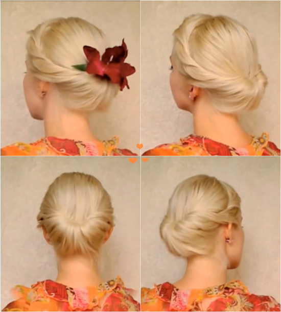 Elegant updo for medium long hair1 Wonderful DIY Elegant Updo For Medium Long Hair