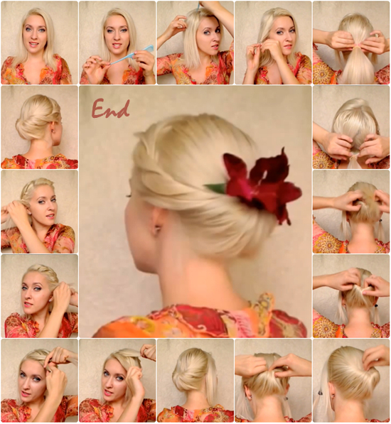 Elegant updo for medium long hair2 Wonderful DIY Elegant Updo For Medium Long Hair