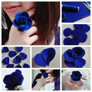 Wonderful DIY Pretty Felt Rose Ring