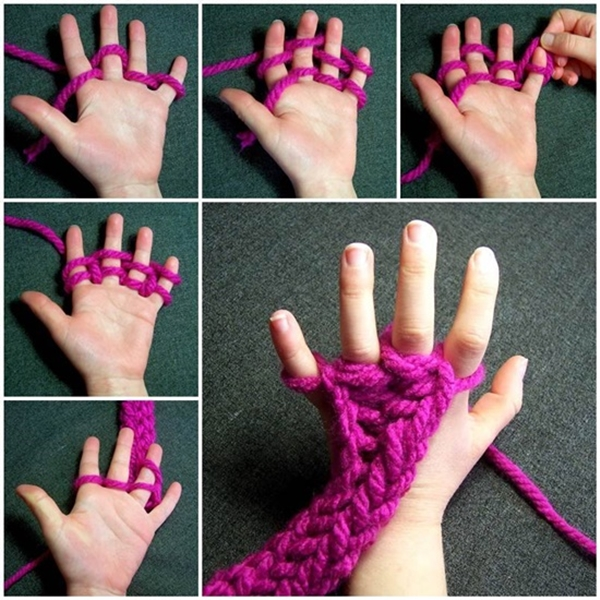 Finger Knitting scarf F