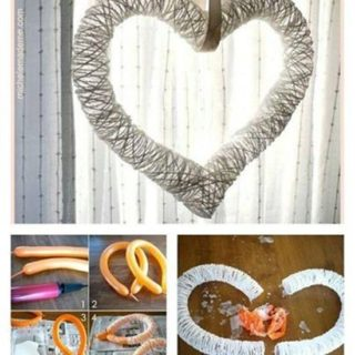 Wonderful DIY Yarn Heart  Wreath With Balloon
