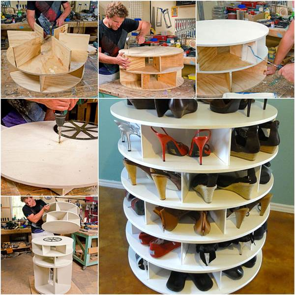 How to Make Lazy Suzan Style Shoe Storage Rack DIY Tutorial Wonderful DIY Lazy Susan Shoe Storage Rack